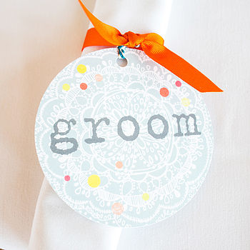 Groom Wedding Name Tag