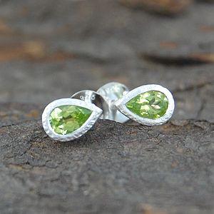 Silver And Peridot Tear Drop Stud Earrings - birthstone jewellery gifts