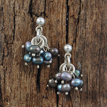 Sterling Silver Peacock Pearl Earrings