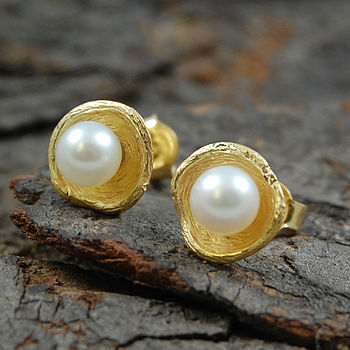 Sterling Silver And Gold White Pearl Stud Earrings