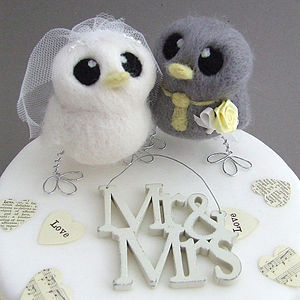 Bride And Groom Bird Wedding Cake Topper - table decorations