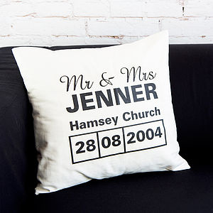 Personalised Mr & Mrs Venue Cushion - cushions