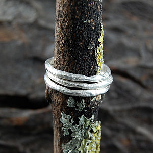 Band Single Textured Silver Stacking Ring - women's jewellery