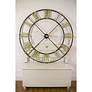 Steeple Iron Large Wall Clock Bronze, Black Or White