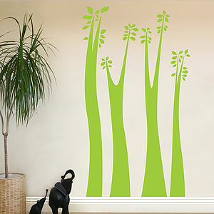 Giraffe Trees And Leaves Wall Stickers - office & study