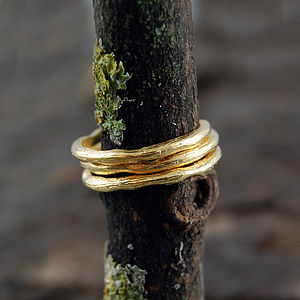 Gold Textured Single Stacking Band Ring - rings