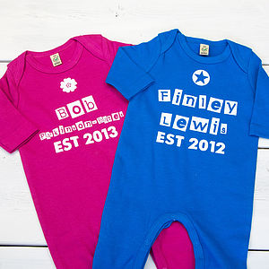 Baby Personalised Date Playsuit - babygrows