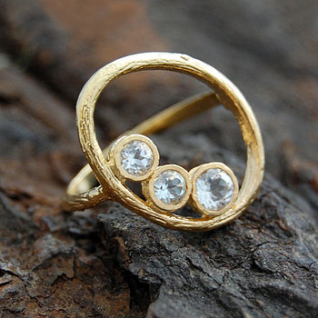 Gold Organic Oval White Topaz Ring