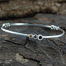 Silver And Smokey Quartz Cellular Bangle