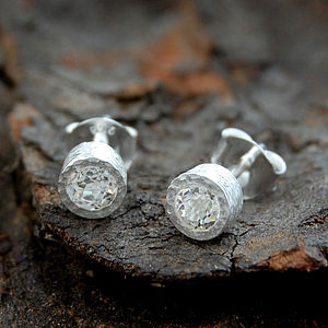 Fine White Topaz Round Silver Stud Earrings - earrings