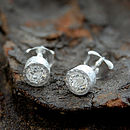 Sterling Silver White Topaz Dot Stud Earrings