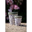 Blue & White Aged Ceramic Round Pots