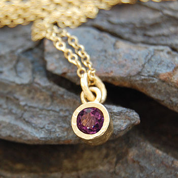 Amethyst And Gold Dot Necklace