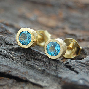 Blue Topaz Round Gold Stud Earrings - birthstone jewellery gifts