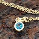 Gold And Blue Topaz Dot Necklace