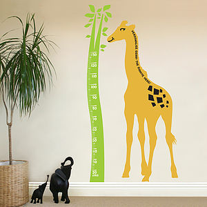 Giraffe Height Chart Wall Sticker - new lines added