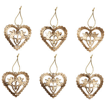 Gold Heart & Cherub Christmas Decorations