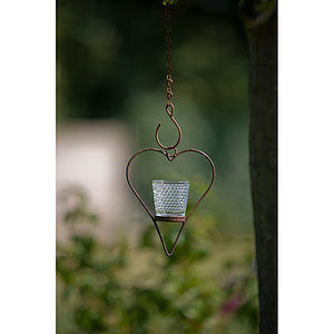 Rustic Mini Hanging Hearts With Votives - christmas lights