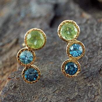 Gold Peridot And Topaz Graduating Earrings