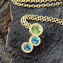 Gold Peridot And Topaz Graduating Necklace