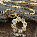 Gold And White Topaz Rosette Pendant