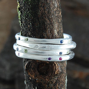 Silver And Gemstone Fine Stacking Ring - rings