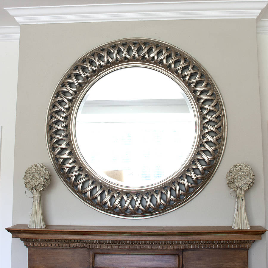 Grand champagne silver weave round mirror by decorative for Miroirs decoratif