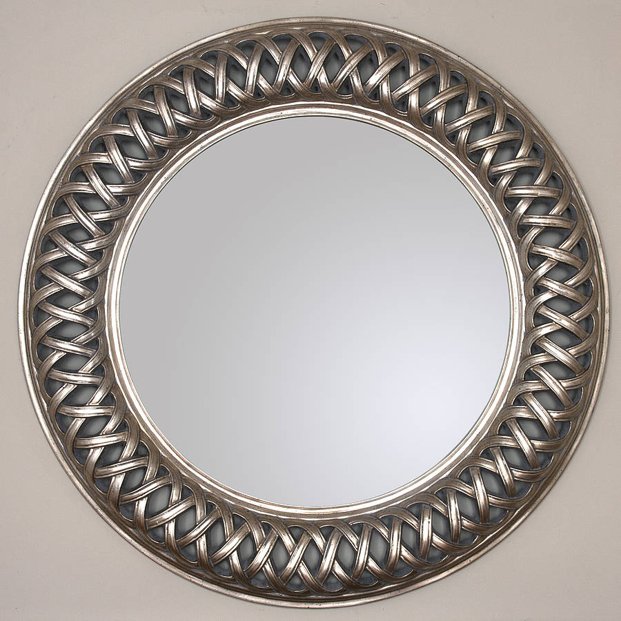 Grand champagne silver weave round mirror by decorative for Fancy mirror