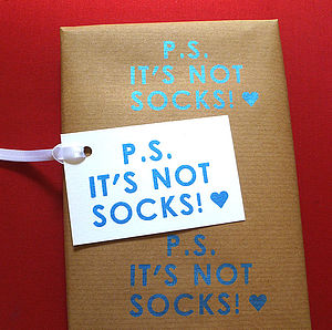 'Not Socks!' Screen Printed Wrapping Paper - wrapping paper