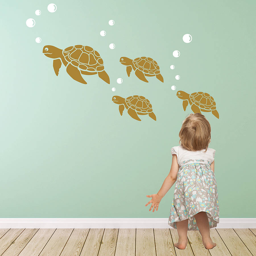 Sea Turtle Wall Sticker Decals By Snuggledust Studios
