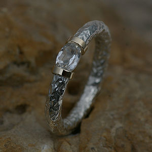 Tension Ring With White Sapphire In Silver - rings