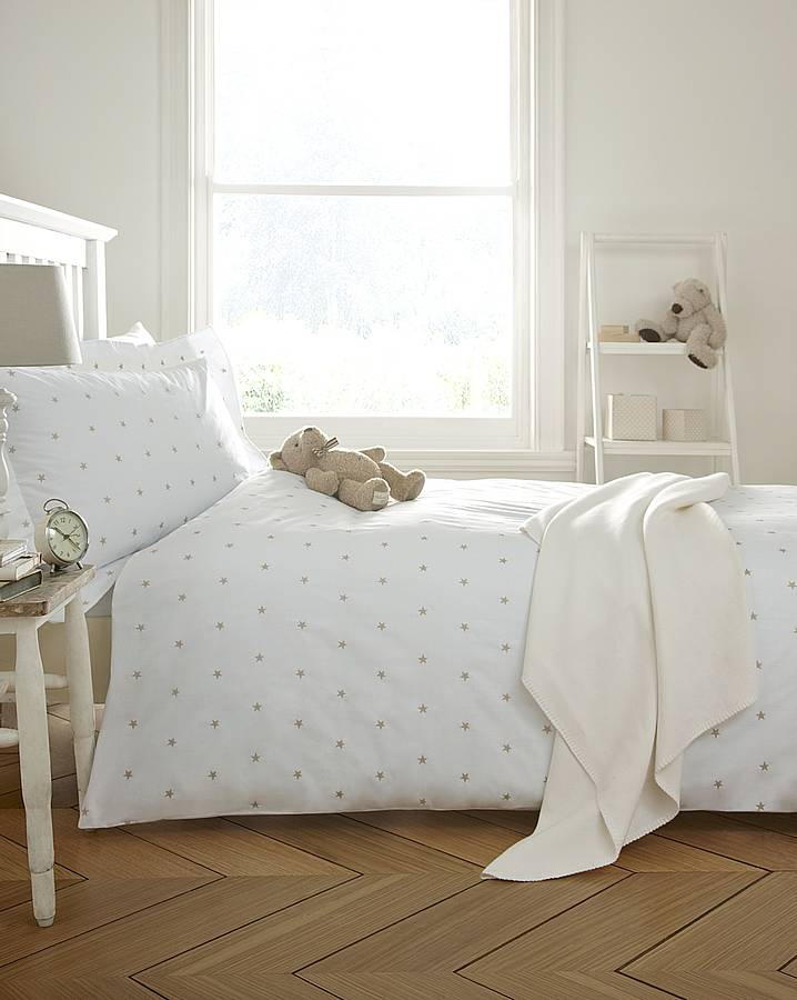 Natural Embroidered Stars Bedding Collection By The Fine