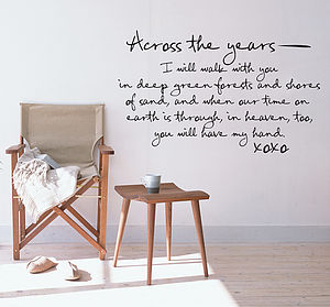 'Across The Years I Will' Wall Sticker Quote - wall stickers by room