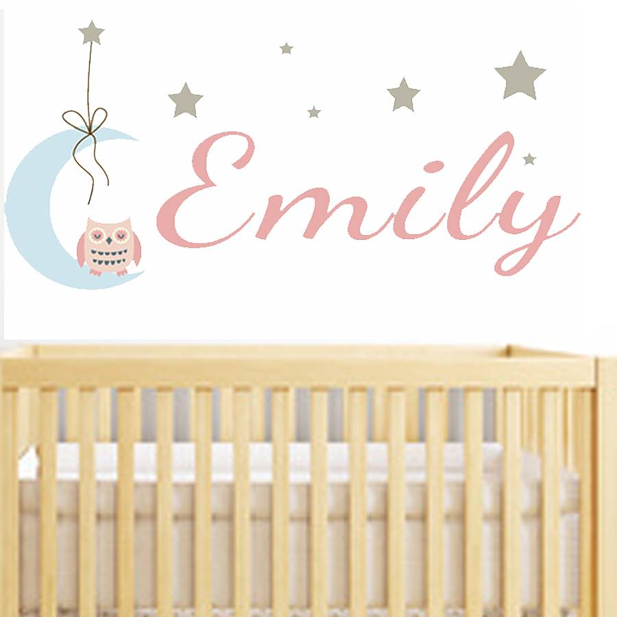 baby name wall stickers owl name fabric wall stickers decorative accessories