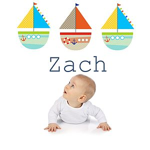 Bright Boats Name Fabric Wall Sticker