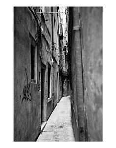 Walkway, Venice, Italy, Black And White Signed Print