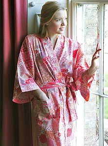Kimono Dressing Gown Bloom Prints - women's fashion