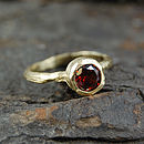 Gold Textured Single Garnet Gemstone Ring