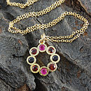 Gold Ruby And Garnet Rosette Necklace