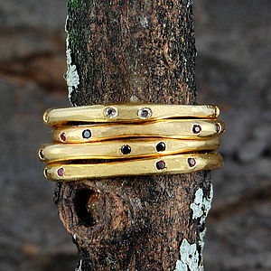 Gold And Gemstone Fine Stacking Ring - rings