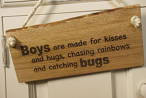 'Boys Are Made For Kisses…' Sign - room decorations