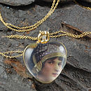 Heart Gold Vintage Style Locket Pendant Necklace