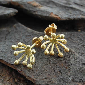 18 K Gold Vermeil Blossom Spike Stud Earrings