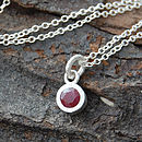 Sterling Silver And Ruby Dot Pendant