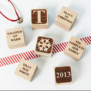 Personalised Babys First Christmas Blocks - view all decorations