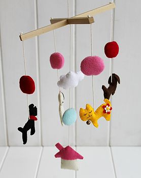 Felt 'Raining Cats And Dogs' Mobile