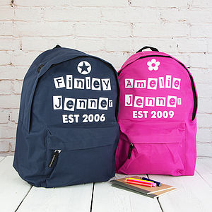 Personalised Est Children's Rucksack - personalised