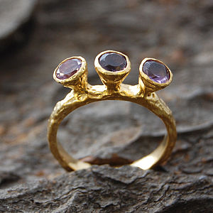 Amethyst Or White Topaz Tudor Style Gold Ring - rings