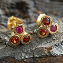 Gold And Ruby Triple Stud Earrings