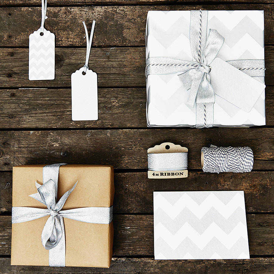 silver chevron white wrapping paper by sophia victoria joy. Black Bedroom Furniture Sets. Home Design Ideas